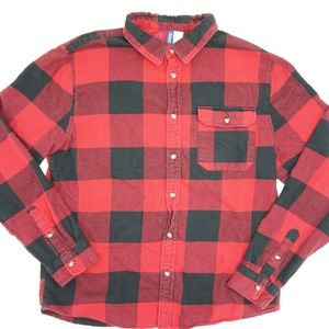 H&M Divided Red Plaid Flannel Shirt Checkered